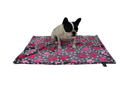 HS-Hundebett hochwertige Hundedecke in 3 Größen I Made in Germany - waschbar bei 40°C - trocknergeeignet I weiche Kuscheldecke für große & kleine Hunde I Pfote Pink 45 x 65 cm