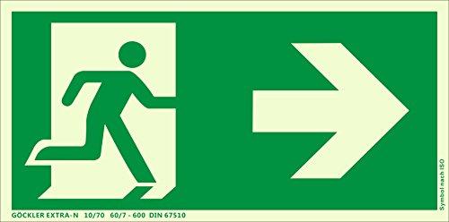 Notausgang Schild ISO 7010 gem. ASR A1.3, in 300x150 mm Kunststoff Nachleuchtend selbstklebend EXTRA-N, rechts-Flucht-Rettungswegzeichen
