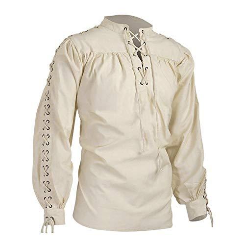 Shujin Herren Mittelalter Hemd Schnürhemd Cosplay Rüschenhemd Gothic Steampunk Viktorianisch Langarm Lace Up Tops Halloween