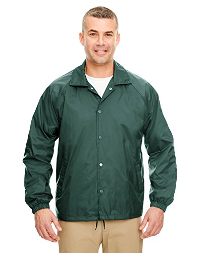 UltraClub Adult Nylon Coaches Jacket - Forest Green - L
