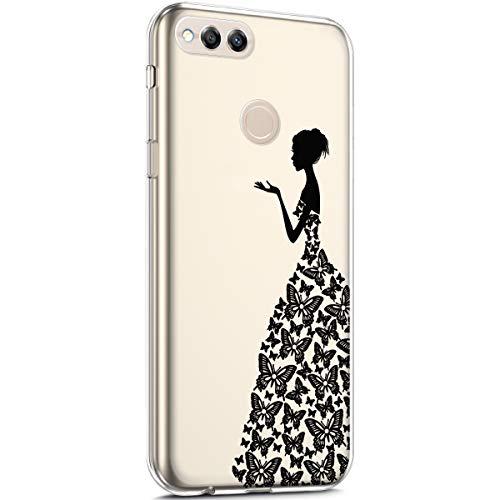 Surakey Cover Huawei Honor 7X, Custodia Silicone Trasparente con Disegni Fiore Ciliegio Cartoon Divertente Sottile e Leggero Protettiva Skin Crystal Clear Cover per Huawei Honor 7X,Vestito a Farfalla