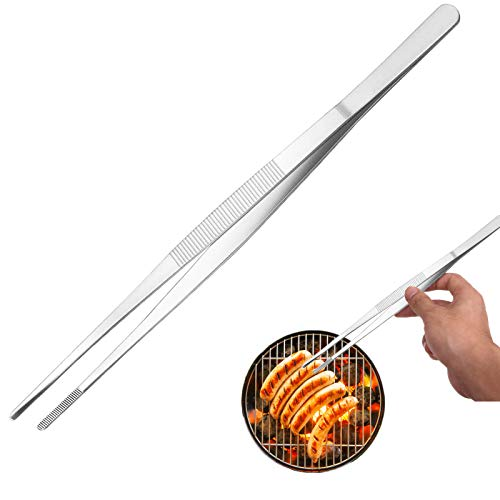 12 Inch Kitchen TweezersPremium Stainless Steel Tweezer Tong Long Food Tweezer Tong with Precision Serrated Tips for CookingBBQPlants