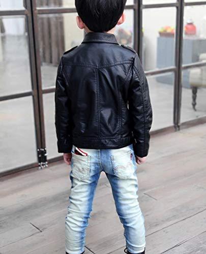 YoungSoul Jungen Mädchen Kunst Lederjacke Kragen Motorrad Leder Mantel Kinder Biker Style Herbst Winter Jacke mit Fellkragen Schwarz 7-8T/Körpergröße 135cm - 4