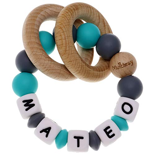 Munchewy Personalized Name Baby Rattle Teether Ring, Customizable Food Grade Silicone Sensory Chew Bracelet with Natural Organic Beech Wood Teething Rings for Baby Boys Girls(Grey/Turquoise)