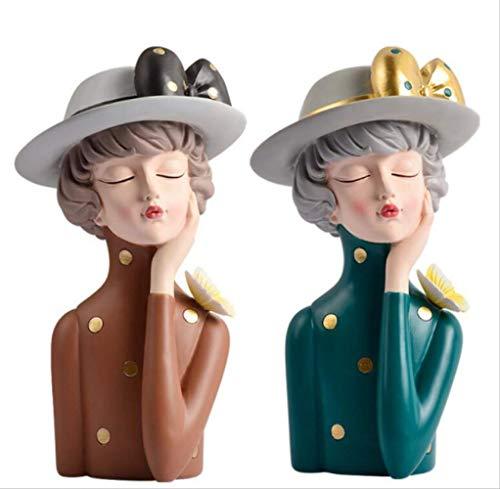 LISAQ Escultura Creativa para niña, Maceta, Figura de Resina, Modelo, decoración nórdica para el hogar, Accesorios de decoración para Dormitorio, Estatua de Resina, Regalos, Paquete de 2