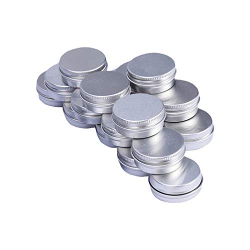 HEALLILY 24pcs 30g vasetti di latta di alluminio tondi in alluminio argento per fai da te cosmetici salve candele contenitori da viaggio (scatola per campioni in alluminio con filo)