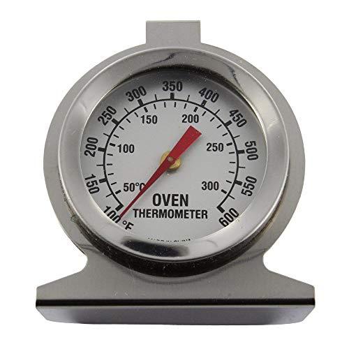 Invero - Termometro da forno universale in acciaio inox, per il monitoraggio della temperatura, da appendere o stare in forno, quadrante trasparente