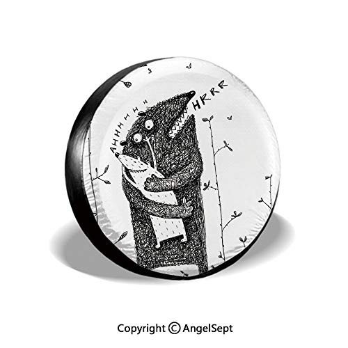 Spare Tire Cover,Father and Son Monsters Hugging Caress Cuddle Feeling Love Parenthood Family,Black White,for Jeep Trailer SUV RV and Many Vehicles,14 Inch