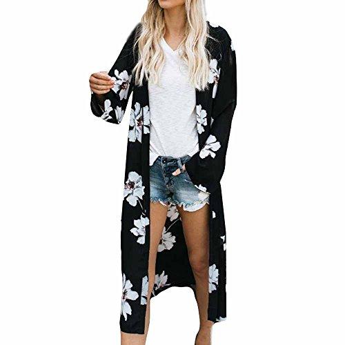 FRAUIT Damen Langer Kimono Blumen Druck Cardigan Chiffon Bikini Cover Up Strand Badeanzug Bluse Bedecken Pareos Kimono Cardigan Strandkleid