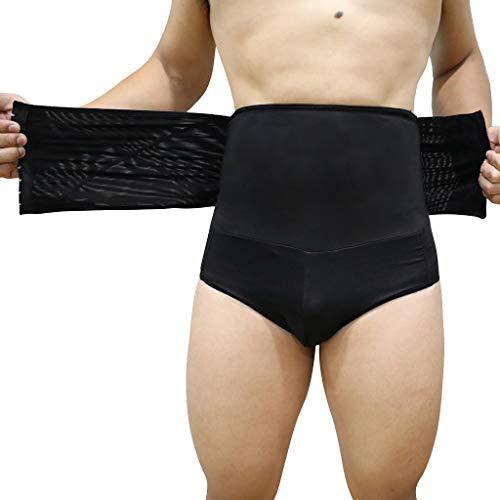 Blaue Kornblume Herren Korsett mit hoher Taille Slips Abnehmen Shapewear Hohe Taille Figurformend Bauchweg Unterwäsche Kompression Boxershorts(Schwarz,XXXXXL
