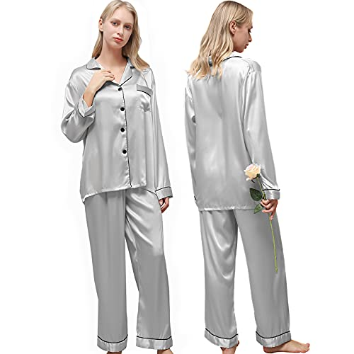 Ladieshow Pijamas Satén para Mujer, Pijamas Set Mujer Manga Larga Elegante y Moda, Largo Conjunto de Pijamas Camisón Seda para Mujer, 2 Piezas Ropa de Dormir con Botones Suave y Sedosa (Gris, M)