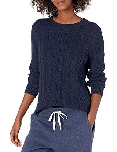 Amazon Essentials Women's Fisherman Cable Long-Sleeve Crewneck Sweater, Navy, Medium