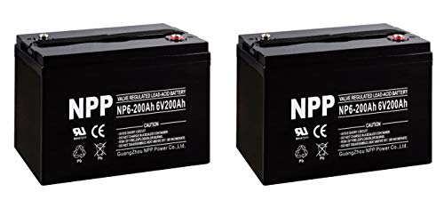 NPP NP6-200Ah 6V 200Ah AGM Deep Cycle SLA Rechargeable Battery for Golf Cart RV Boat Camper Solar (2 Pack)