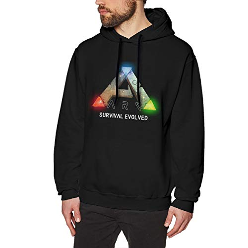 Men's Casual Cotton ARK Survival Evolved T-Shirt Long Sleeve O-Neck Sports Pull-Over Hoodie Sweatshirt Black M