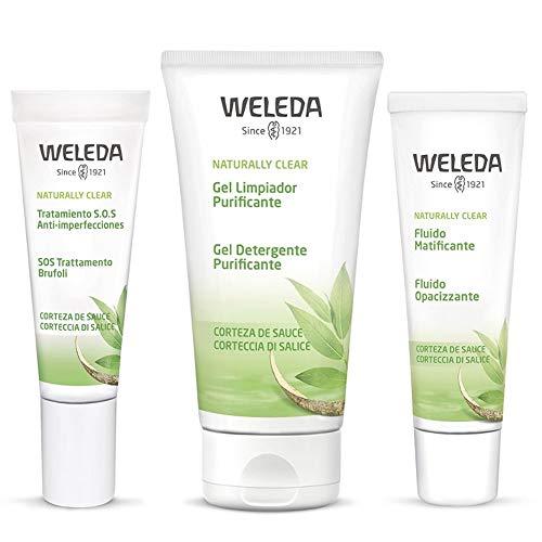 Weleda Anti Acne Komplettpaket mit Reinigungsgel 100 ml Opacizid 30 ml SOS Brufoli Serum 10 ml + Tisana gratis