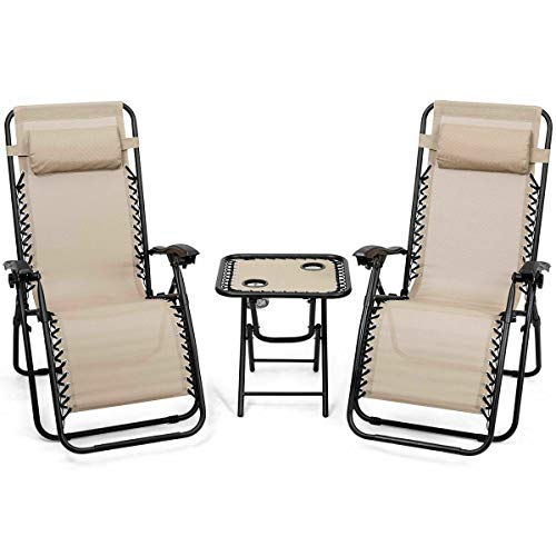 Heize best price Beige Folding 3PC Zero Gravity Reclining Lounge Chairs Table Pillows Portable Backyard Patio Furniture Indoor Dinner(U.S. Stock)