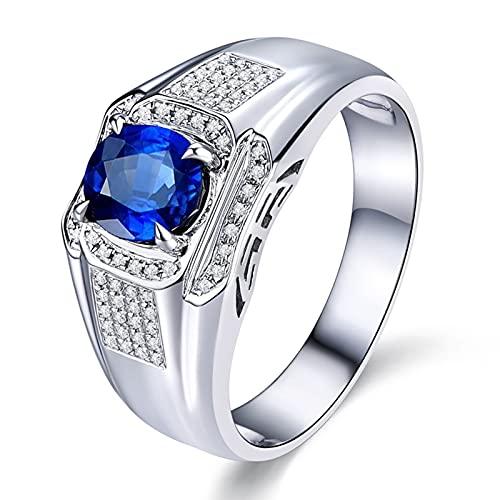 Amody Anillos de Hombre de Oro de 18 Kilates, Anillo de Boda Redonda Zafiro 1ct Diamante Tamaño 18,5