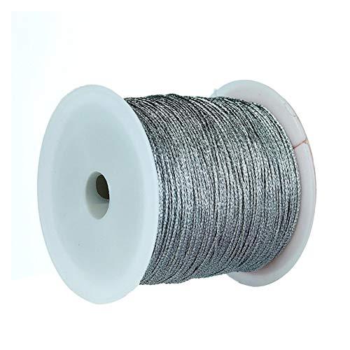 CHENGTAO 1roll / Porción Diámetro De Nylon Que Rebordea La Cuerda Macrame Cordón Trenzado De Cuerda For La Pulsera Collar (Color : Silver, Size : 6 linesx0.4mm 50m)