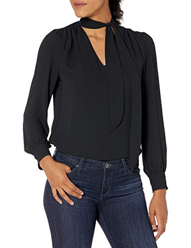 Lark & Ro Women's Crepe de Chine Long Sleeve V-Neck Gathered Tie Neck Top, BLACK, M
