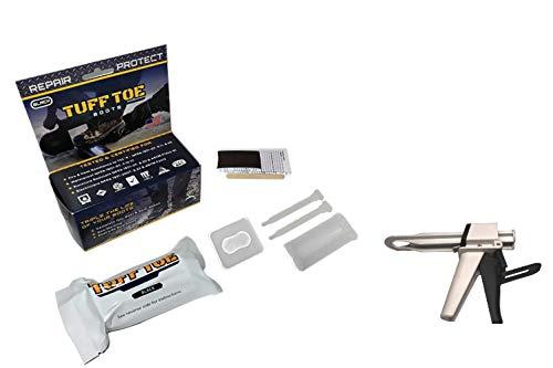 Tuff Toe Work Boot Repair Kit: Black TUFF Gun APPLICATOR & Boot Bundle (Black) Combo Upgrade Leather Boot Shoe Adhesive Resole Restore Steel Toe Work Boots