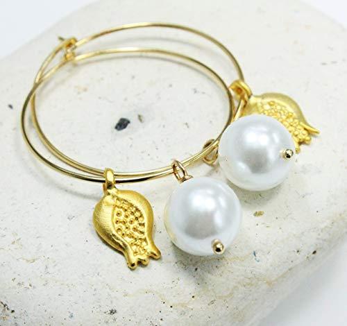 Ohrringe Creolen Muschelkern-Perlen weiß vergoldet Perlenohrringe Perlencreolen