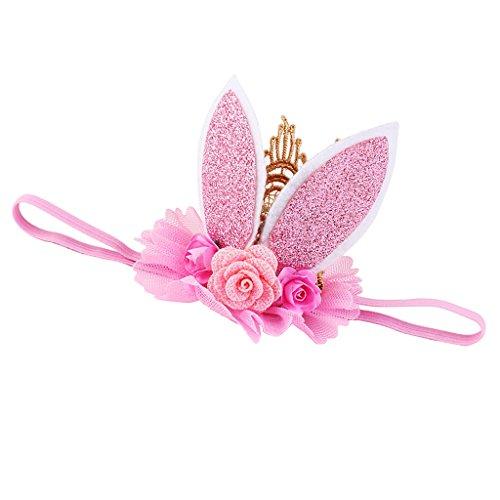 Toygogo Sweet Baby Girls Kids Hairband Banda Elástica Corona Diadema Flor Accesorios Para El Cabello - Rosado, como se describe