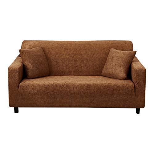 Hotniu - Funda elástica para sofá de tela escocesa, suave y lavable, funda de sofá antideslizante con fondo elástico, protector de muebles con 1 funda de almohada (mediano, marrón)