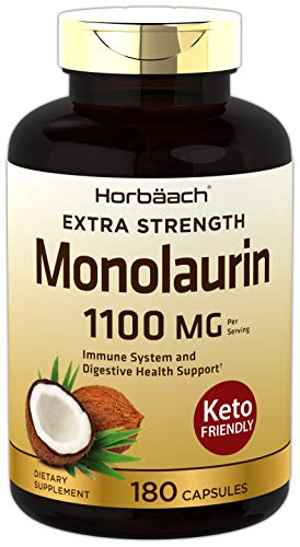 Monolaurin Capsules 1100mg | 180 Count | Extra Strength | Keto Friendly | Non-GMO & Gluten Free Supplement | by Horbaach