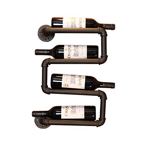 HLWJXS Estante de Vino Estante de Alenamiento de Champán de Vino Montado en la Pared Tubo de Agua de Metal Colgante de Pared Soporte de Exhibición Estante Decorativo para Cocina Bar Restaurante