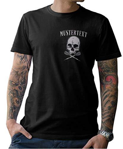 Herren Dart Skull Shirt – INDIVIDUALISIERBAR mit Eurem Wunschnamen - Front- und Rückenprint - Gr. S-XXXXXL