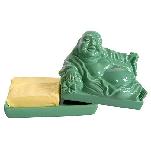 Preis am Stiel Butterdose ''Buddha'' - Grün | Küchenhelfer | Lebensmittel Aufbewahrung | Küchenzubehör | Küchen Aufbewahrung | Buddha Figur klein | Buddha Deko