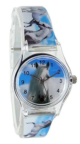 Pacific Time Kinder-Armbanduhr Pferde über den Wolken Analog Quarz blau weiss 20811