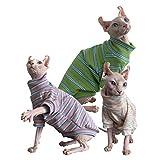 N\C Ropa de Gato Sphynx 3 artículos por Paquete para Primavera y otoño Puro algodón Fino para Gato sin Pelo, Gato Sphynx, Gato esfinge, Gato Devon Rex (M)