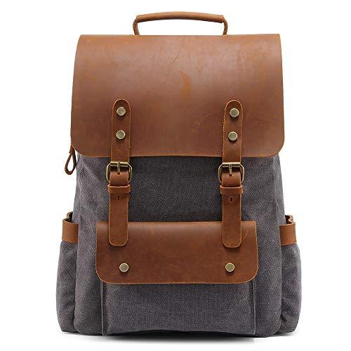 BYEON Canvas Vintage Backpack, Mens Rucksack for Travel Adventure Bookbag,Gray
