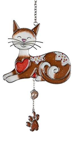 dekojohnson raamhanger Tiffany raamdecoratie decoratieve hanger kat lichtbruin 25x15 cm incl. cadeaukaart