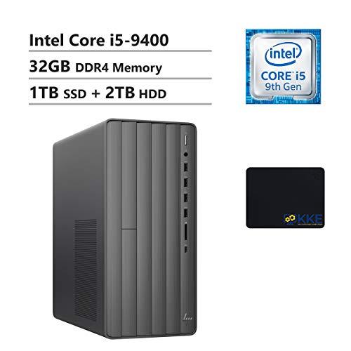 HP Envy Desktop Computer, 9th Intel Core i5-9400 2.90GHz, 32GB DDR4 RAM, 1TB PCIe Solid State Drive + 2TB HDD, WiFi, HDMI, DVD-RW, KKE Mousepad, Win10