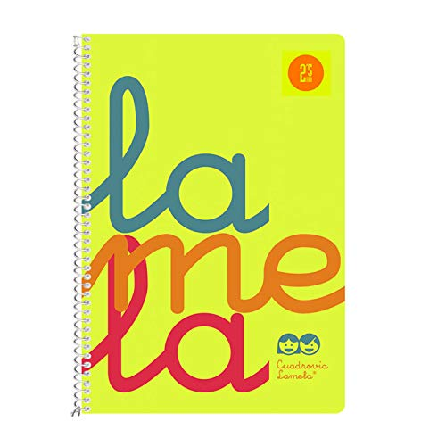 Cuaderno Espiral LAMELA Fluor, 4º 80 Hojas Cuadro 4 mm. Tapa Plástico (Amarillo)