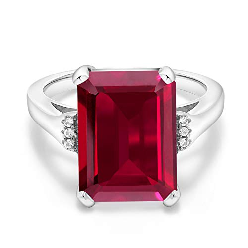 Gem Stone King 925 Sterling Silver Red Created Ruby Women's Ring (8.07 Ct Emerald Cut, Available in size 5, 6, 7, 8, 9)