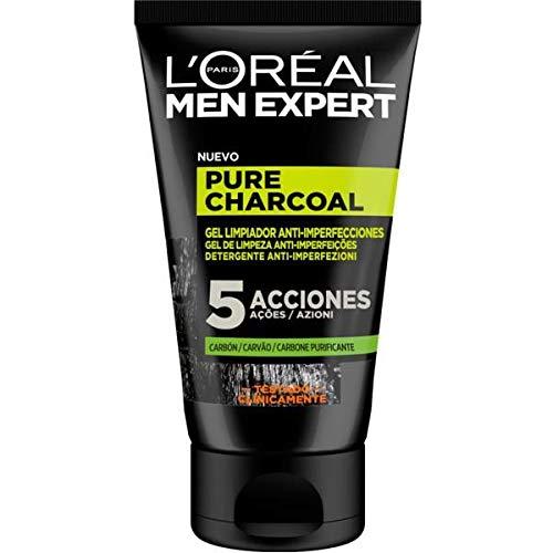 L'Oréal Paris Men Expert Gel Detergente Viso Detox Pure Charcoal, Formula Arricchita con Carbone Vegetale, 100 ml