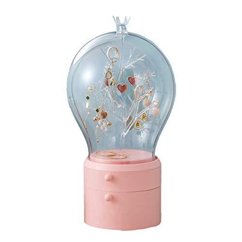 Almacenamiento de joyas Bowith Led, Organizador de maquillaje con luz LED Caja de almacenamiento de joyas transparente Portátil 360 Ambos Pendientes giratorios Estante de collar (Rosa)