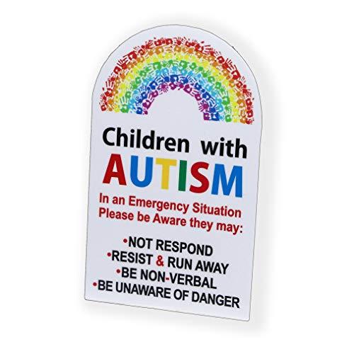H421ld Pegatina de seguridad para puerta con autismo para niños con alerta de seguridad para ventana de emergencia 911 de primeros auxilios