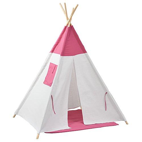 [en.casa] Tienda de campaña para niños - Tienda India para ninños - Tienda Tipi - Tienda de campaña Interior para niños - Rosa/Blanco - 150 x 120 x 120 cm