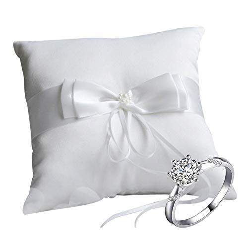 Almohada de soporte para anillo de bodas Almohada de anillo de arco Anillo de almohada de soporte blanco Caja de anillo de bodas romántica Cojín de anillo de novia Almohada anillo blanco 10 * 10cm