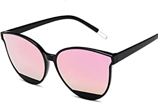 QWKLNRA - Gafas De Sol para Hombre Marco Negro Lente Rosa Retro Espejo Gafas De Sol Mujer Hombre Lujo Vintage Ojo De Gato Gafas De Sol Negras contra-UV Uv400 Ciclismo Viajes Pesca Gafas De Sol Al Aire
