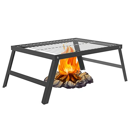 SENXILLER Foldable Campfire Grill - Easy to Clean The Detachable 304 Stainless Steel Grate, Camping Barbecue Grate for Grilling & Cooking Directly, Outdoor Campfire Ideal Barbecue Grill
