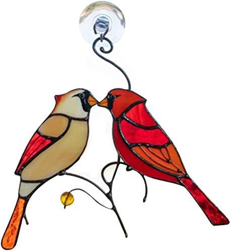Par de cardenales besando vidrieras ornamentales, cardenales rojos aparecen cuando los ángeles están cerca de los pájaros, regalo para decoración del hogar, oficina y coche