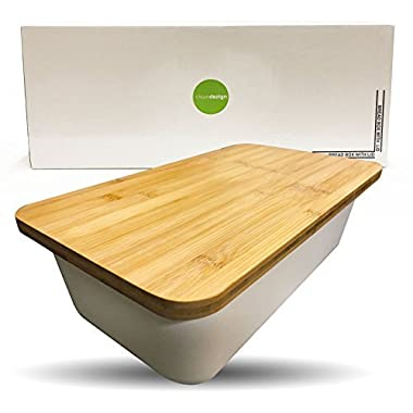 Clean Dezign Bamboo Fiber Bread Box Bin with Cutting Board Lid (Natural White)