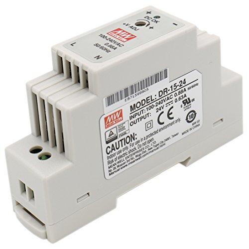 Heschen Meanwell Fuente de alimentación conmutada DR-15-24 15W 24V 0.63A DIN-Rail UL CE listado (Herramientas y Mejora del hogar)