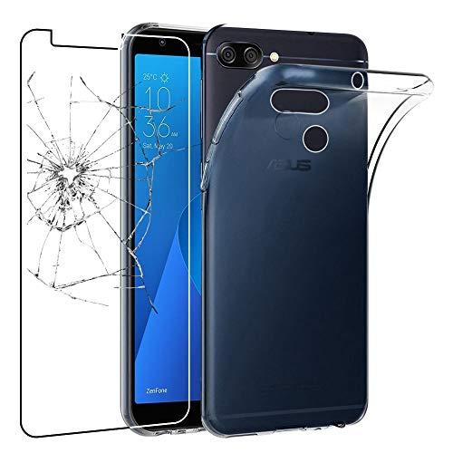 ebestStar - Cover Compatibile con ASUS Zenfone Max Plus M1 ZB570TL Custodia Trasparente Silicone Gel TPU Protezione Morbida, Trasparente + Vetro Temperato [Apparecchio: 152.6 x 73 x 8.8mm, 5.7'']