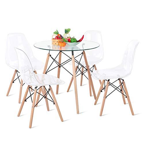 DORAFAIR Mesa Redonda de Cristal Templado y 4 sillas, Juego de sillas de Comedor Moderna Nórdica Patas de Madera